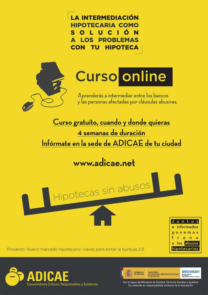 Cartel curso online de intermediación hipotecaria
